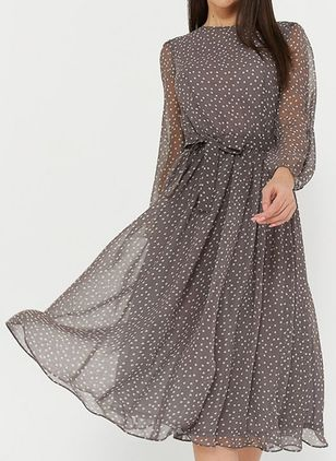 Casual Polka Dot Round Neckline Midi X-line Dress (100002184)