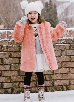 Girls' Basic Solid Round Neck Coats
