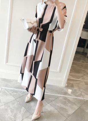 Casual Color Block Round Neckline Maxi X-line Dress (1127132)
