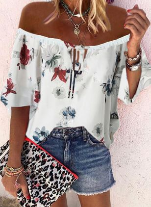 Floral Sexy Off the Shoulder 3/4 Sleeves Blouses (4126910)