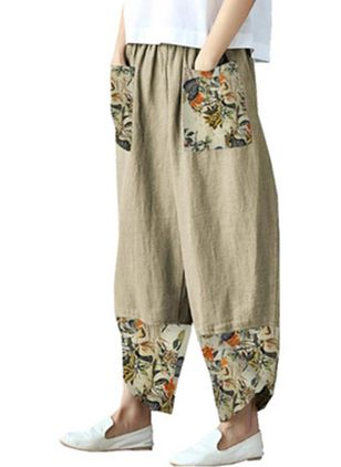 Casual Loose Pockets Mid Waist Polyester Pants (147183019)