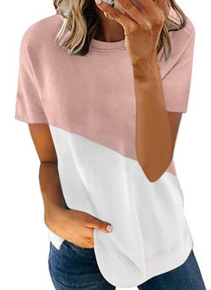Color Block Round Neck Short Sleeve Casual T-shirts (147030141)