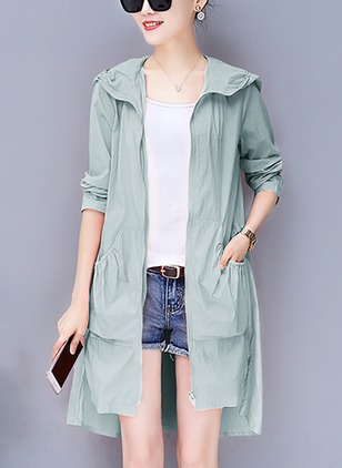 Polyester Long Sleeve Hooded Ruffles Coats