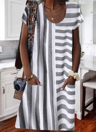 Casual Stripe Tunic Round Neckline A-line Dress (4126827)