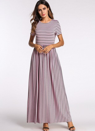 Stripe Tshirt Short Sleeve Maxi A-line Dress