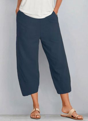 Casual Loose Pockets Mid Waist Polyester Pants (146945872)