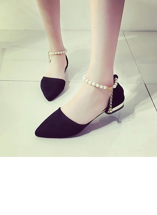 Ankle Strap Pumps Nubuck Low Heel Shoes (1185833)