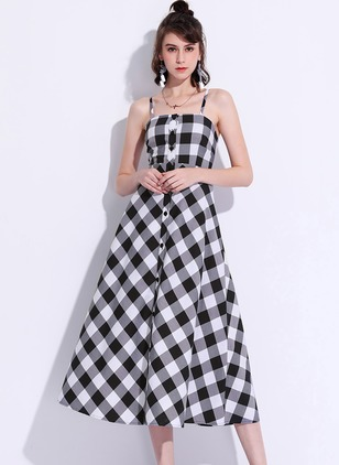 Polyester Check Sleeveless Mid-Calf Casual Dresses