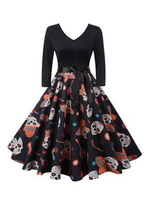 Halloween Color Block V-Neckline Midi X-line Dress (111323621)