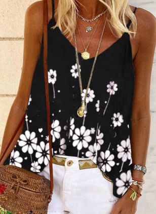 Floral Casual Camisole Neckline Sleeveless Blouses (4074702)