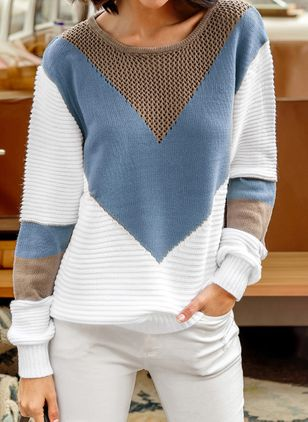 Round Neckline Color Block Casual Loose Shift Sweaters (1365426)
