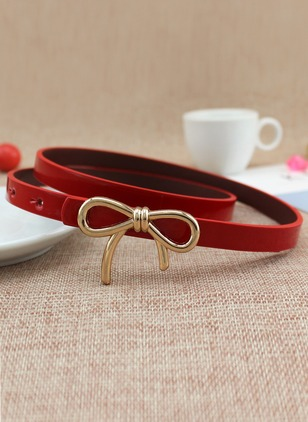 Leatherette Bow Metal Color Block Belts