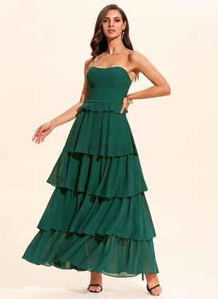 Elegant Solid Off the Shoulder Maxi X-line Dress (1318668)