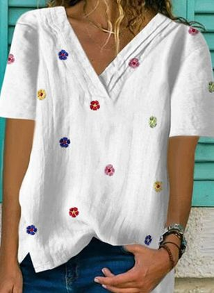 Floral V-Neckline Short Sleeve Casual T-shirts