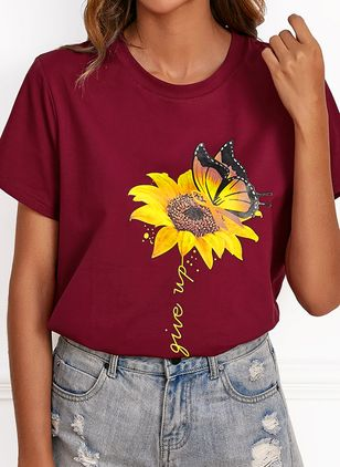 Floral Round Neck Short Sleeve Casual T-shirts (1526943)