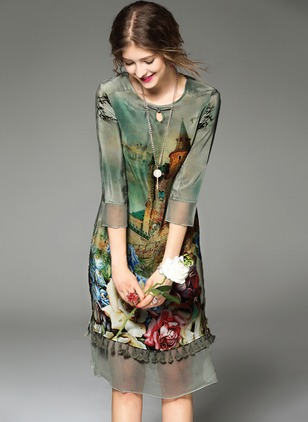 Chinese Style Floral Round Neckline Knee-Length Shift Dress (1016875)