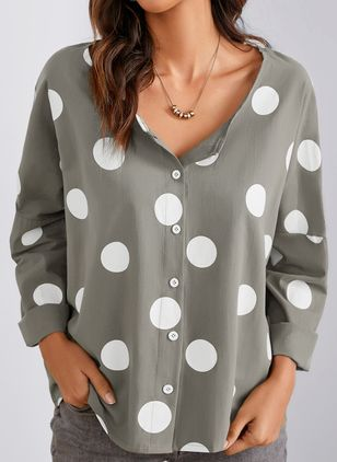 Polka Dot Casual Round Neckline Long Sleeve Blouses (1517180)
