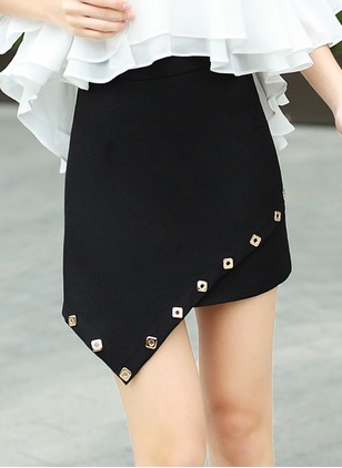 Polyester Solid High Low Casual Black Skirts