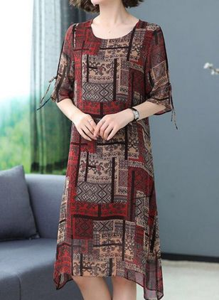 Casual Geometric Tunic Round Neckline A-line Dress (101246542)