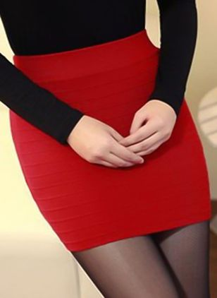 Solid Mini Sexy None Skirts