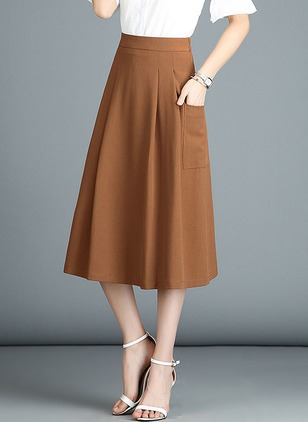 Polyester Solid Mid-Calf Skirts