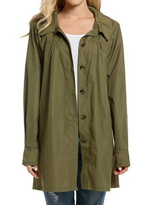 Long Sleeve Collar Buttons Coats Jackets