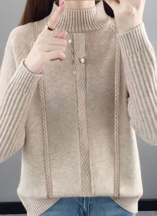 High Neckline Solid Casual Loose Regular Shift Sweaters (109554912)