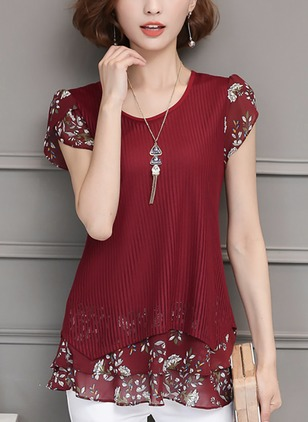 Cotton Solid Floral Round Neck Cap Sleeve Casual T-shirts