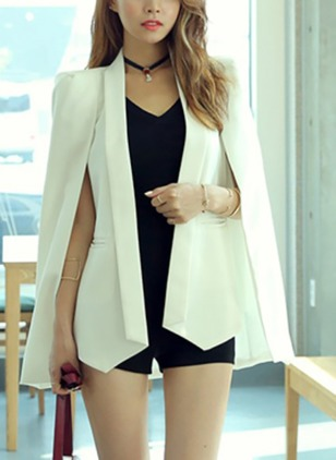 Polyester Long Sleeve Lapel Pockets Capes