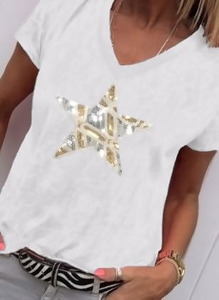 Geometric V-Neckline Short Sleeve Casual T-shirts