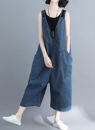 Cotton Solid Sleeveless Backless Jumpsuits & Rompers