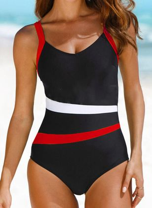 Polyester Color Block One-piece Swimwear (147150160)