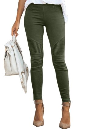 Casual Skinny Vita Media Misto Cotone Leggings (146891312)