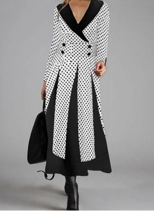Elegant Polka Dot Tunic V-Neckline X-line Dress (108858269)