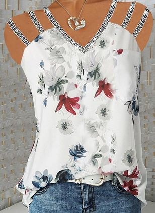 Floral Casual Camisole Neckline Sleeveless Blouses (147157885)