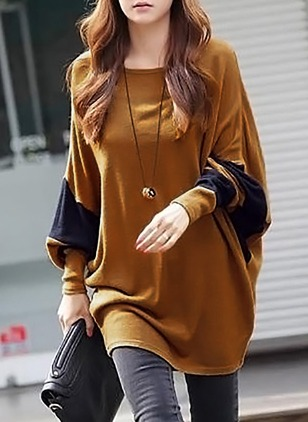 Cotton Color Block Boat Neckline Long Sleeve T-shirts