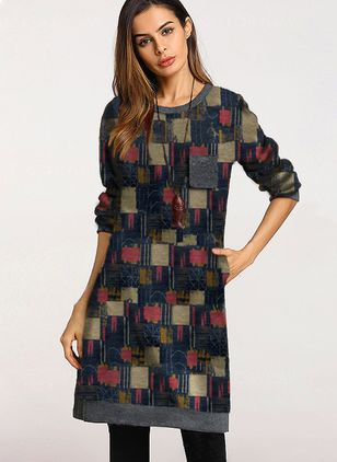Geometric Long Sleeve Above Knee Shift Dress