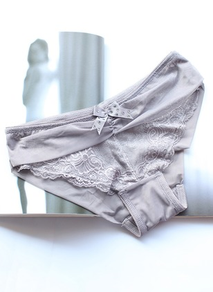Polyester Plain Lace Bow Panty