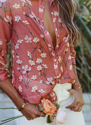 Floral Arabian Collar Long Sleeve Blouses