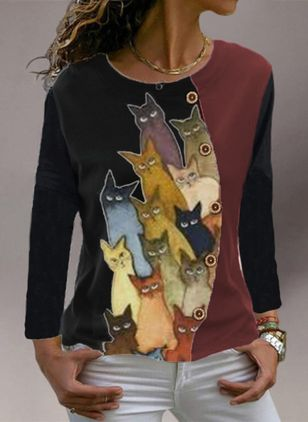 Animal Round Neck Long Sleeve Casual T-shirts (107251400)