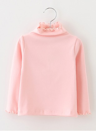 Girls' Solid High Neckline Long Sleeve Tops