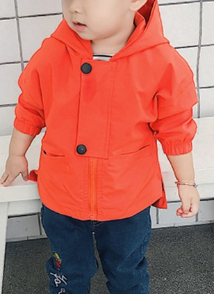 Boys' Casual Solid Hooded Coats
