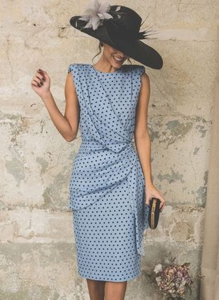 Polka Dot Buttons Sleeveless Knee-Length Sheath Dress