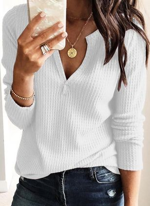 Solid Casual V-Neckline Long Sleeve Blouses (1330842)