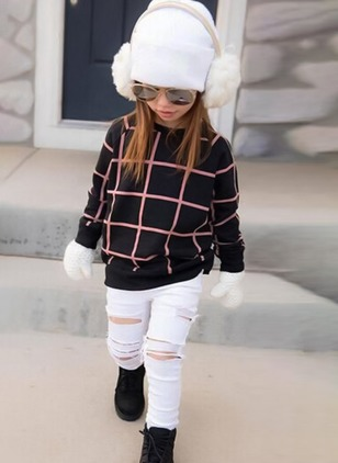 Girls' Basic Plaid Going out Long Sleeve Clothing Sets