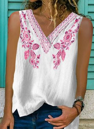 Floral V-Neckline Sleeveless Casual T-shirts (4458556)