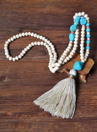 Casual Tassel Gemstone Pendant Necklaces (4048212)