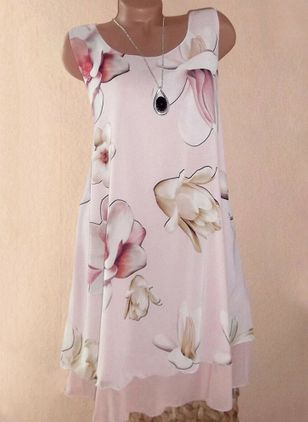 Casual Floral Tunic Round Neckline Shift Dress (101985835)