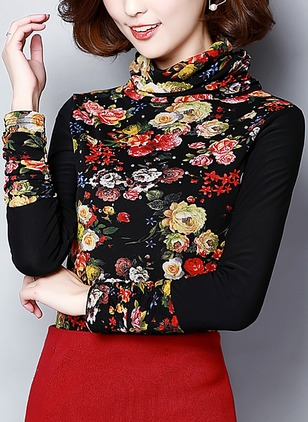 Cotton Floral High Neckline Long Sleeve Vintage T-shirts