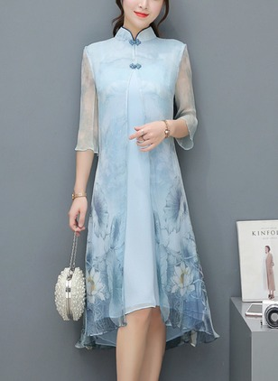 Chinese Style Floral Tunic Collar A-line Dress (1163447)